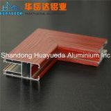 Profils en aluminium d'extrusion de transfert en bois pour la porte et le guichet