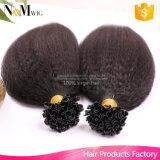 12-30 da ponta brasileira do prego da queratina U do cabelo de 100g/Lot polegadas das extensões retas Kinky do cabelo humano Remy
