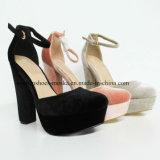 2017 zapatos fornidos de la señora alineada de las mujeres del alto talón del último calzado del estilo
