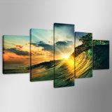 Wellen-Sonnenuntergang Seaview Abbildung-Farbanstrich auf Segeltuch für Wand-Kunst-Ausgangsdekoration-Wohnzimmer-Segeltuch-Druck-Farbanstrich Mc-159