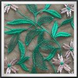 Laço do bordado da flor e da folha do laço do bordado do engranzamento do poliéster