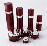 Botella privada de aire de la loción del tarro poner crema de acrílico rojo de Set1 PP para el empaquetado del cosmético (PPC-CPS-037)