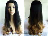 Верхнего качества естественный градиента волос парик длиной курчавый синтетический