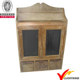 Gabinete de parede de madeira pequeno do armazenamento preto do vintage com portas de vidro