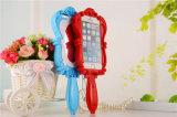 caja mágica rosada del teléfono del silicón del espejo 3D para la hembra (XSF-057)
