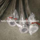 Pipe tressée flexible ondulée de tube de tuyau d'acier inoxydable d'extrémité de bride