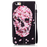 iPhone6 6sのための花のSkull PU Leather Case Wallet Filp Cover