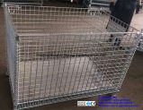 Stillages Foldable & Stackable galvanizados do engranzamento de fio de aço para o armazenamento do armazém