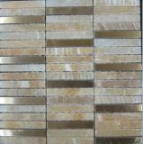 Materiales de construcción de acero inoxidable mezclado mármol natural del azulejo de mosaico de piedra (FYSM077)