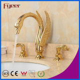 Fyeer New Attractive Dual Handle Golden Waterfall Swan Basin Faucet