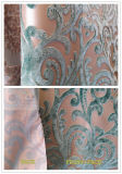 Tela verde del sofá del terciopelo de la quemadura de la pila del corte del damasco