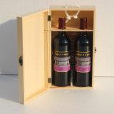 Rectángulo de madera de madera al por mayor del Doble-Vaso del rectángulo de regalo del rectángulo del vino