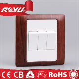 Le BS Wooden Color 3gang 10A 220V Electrical Switch