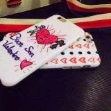 Caja de la PC del corazón del garrapatos del estilo de la manera para iPhone6