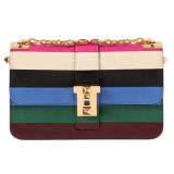 Chain를 가진 HD27-153 Fashion Colorful Ladies Stripe PU Handbag