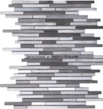 2016 bianco Strips Glass Mosaic con Aluminum Alloy (R1681)