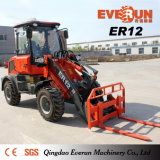 Lader van het Wiel van de Machine van 1.2 Ton grijpt de Landbouw Mini met de Vorken van het Gras Emmer vast