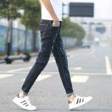 Calças de brim rasgadas do lazer das calças dos homens da alta qualidade correção de programa magro retro