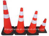 Cône professionnel de Cono de base de noir de sécurité routière de circulation de constructeur