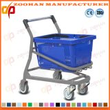 Doppelter Reihe-Korb-Plastikdraht-Metalllebensmittelgeschäft-Einkaufen-Laufkatze (Zht220)