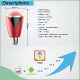 Luz de bulbo do diodo emissor de luz de Bluetooth da música do rádio 4.0 para o telefone esperto