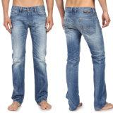 Das calças retas das calças das calças de brim do trabalho de pé da sarja de Nimes dos homens calças de brim magros