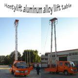Elevador hidráulico telescópico eléctrico de la aleación de aluminio del vector de funcionamiento del mástil del doble del trabajo