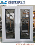 Doppeltes Glass Aluminum Casement Window mit Security Grill