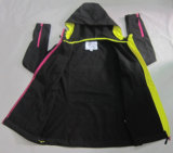 Revestimento respirável impermeável de Softshell do velo preto das senhoras Yj-1072 com mulheres da capa