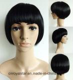 Negro Natural New Style Bobo Cabello corto Cabeza peluca sintética