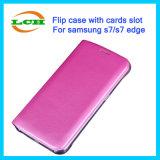 Kippen-lederner Fall mit Karten-Schlitz für Samsung S7