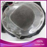 Toupees suíços ventilados mão do cabelo do laço do cabelo humano da polegada de 100%