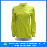La Cina Supplier Manufactur Yellow Solid Color Cotton Shirt per Women