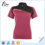 Dames courant les vêtements de sport en gros de femmes de T-shirt
