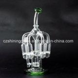 Tubo di acqua di fumo di vetro di disegno di vetro brillante con bordi della vasca di gorgogliamento
