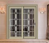 Porta de alumínio exterior vitrificada dobro da grelha