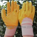 Blaue Nitril-Hälfte eingetauchte Arbeits-Handschuhe China