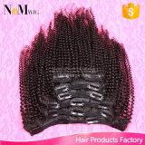120g de vastgestelde Maagdelijke Peruviaanse Klem van Afro van het Menselijke Haar Kroezige Krullende in de Uitbreidingen van het Menselijke Haar voor Zwarte