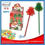 Пластичная шариковая ручка подарка рождества с конфетой