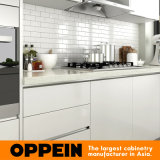 Lacquer Finish (OP15-L32)를 가진 Oppein Modern L-Shape Wooden Kitchen Cabinet