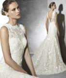 Платье венчания французского шнурка Mermaid Neckline шлюпки Appliqued Trumpet Bridal