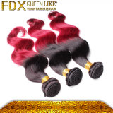 Fadianxiu Red и Black Ombre Hair Extensions бразильское Weft Hair