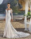 Da garganta longa da sereia V da luva de 0076 vintages vestido de casamento traseiro completo de Tulle do trem da corte com Appliques