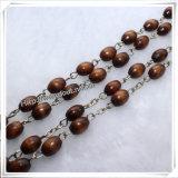 Les talons ovales de Brown de type neuf prient des rosaires, le rosaire en bois (IO-cr008)