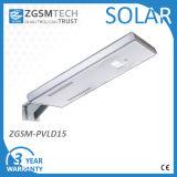 15W éclairage LED solaire tout dans un réverbère solaire de DEL