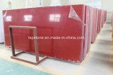 Losa artificial cristalina roja popular de la piedra del cuarzo