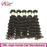 10Aペルーのバージンの毛の深い波100のペルーの人間の毛髪の織り方