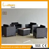 Muebles del jardín del hueco del fuego de tapicería de la tela del Bbq negro moderno del vector y de la silla al aire libre