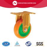 5 Zoll-örtlich festgelegtes Platten-Grün-Kern-Gelb PU-industrielle Fußrolle