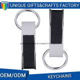 O espaço em branco o mais novo Keychain do metal do couro do projeto para o presente relativo à promoção